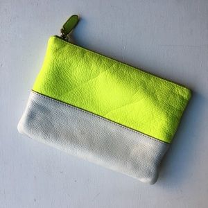 J. Crew Colorblock Leather Cosmetic Pouch